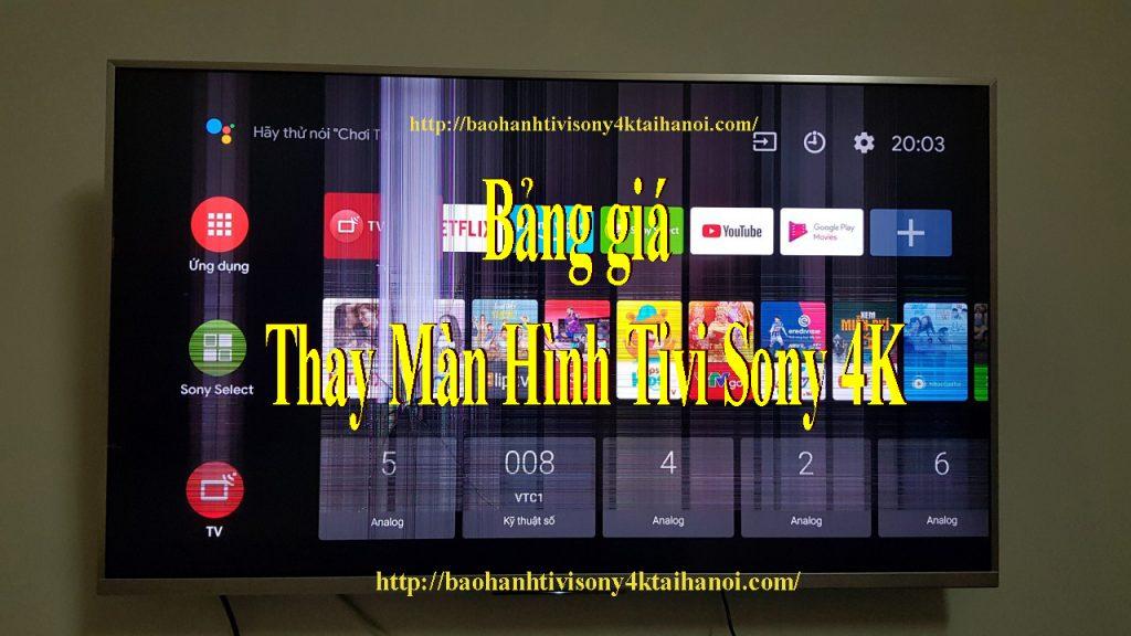 bảng giá thay màn hình tivi sony